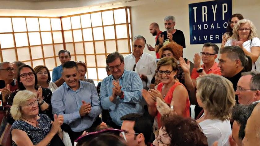 Imagen de los triunfadores en las polémicas primarias del PSOE de la capital en 2018.