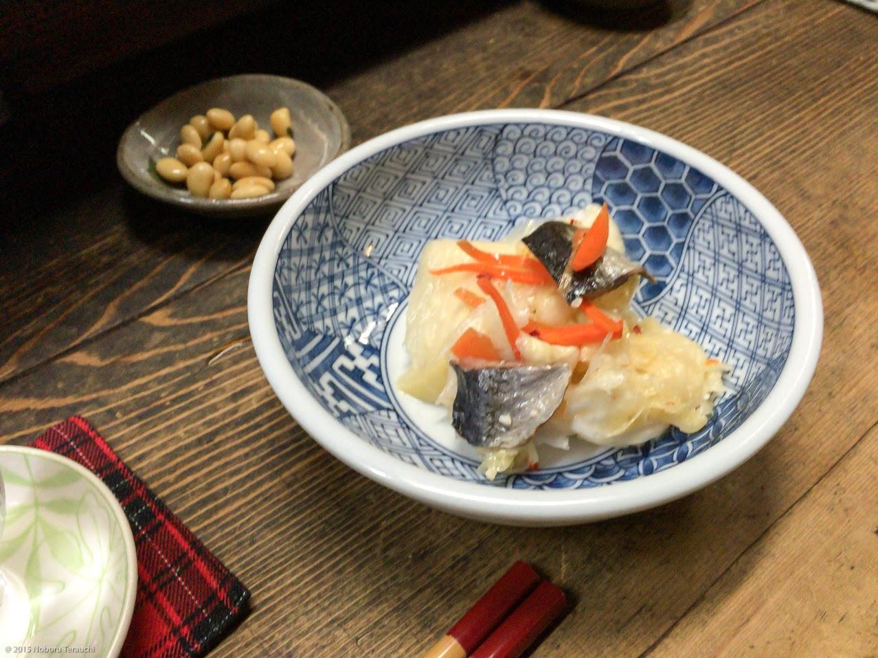 お通しの酢大豆&ニシン漬け