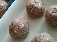 Mix all ingredients, form into meatballs. Bake in 400 oven for 25min.