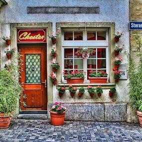 Lucerne Switzerland Shop by Dennis Granzow - Landscapes Travel ( europe, digital art, switzerland, small shop, lucerne, cobblestone walk )