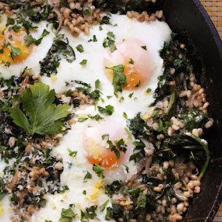 Skillet Barley with Kale and Eggs Recipe