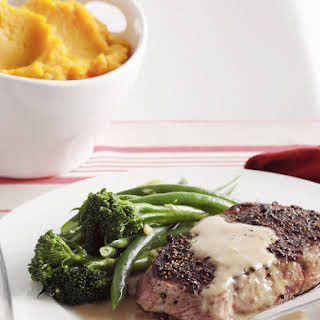 Sirloin Steaks with Mashed Butternut Squash.