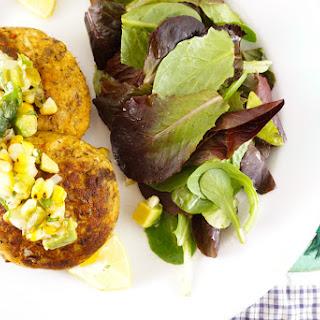 Bluefish Cakes With Roasted Corn Avocado Salsa