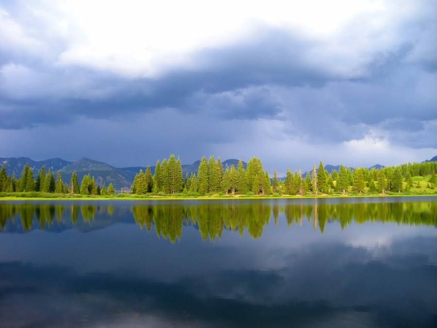 Pre-Rainstorm Beauty by Matt Quigley - Landscapes Mountains & Hills ( clouds, water, reflection, mountains, trees )
