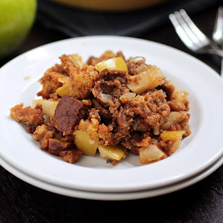 Green Apple and Sausage Stuffing with Pumpkin and Pumpernickel