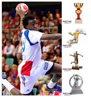 équipement sportif pour handballeur, trophée, médaille, coupe handball