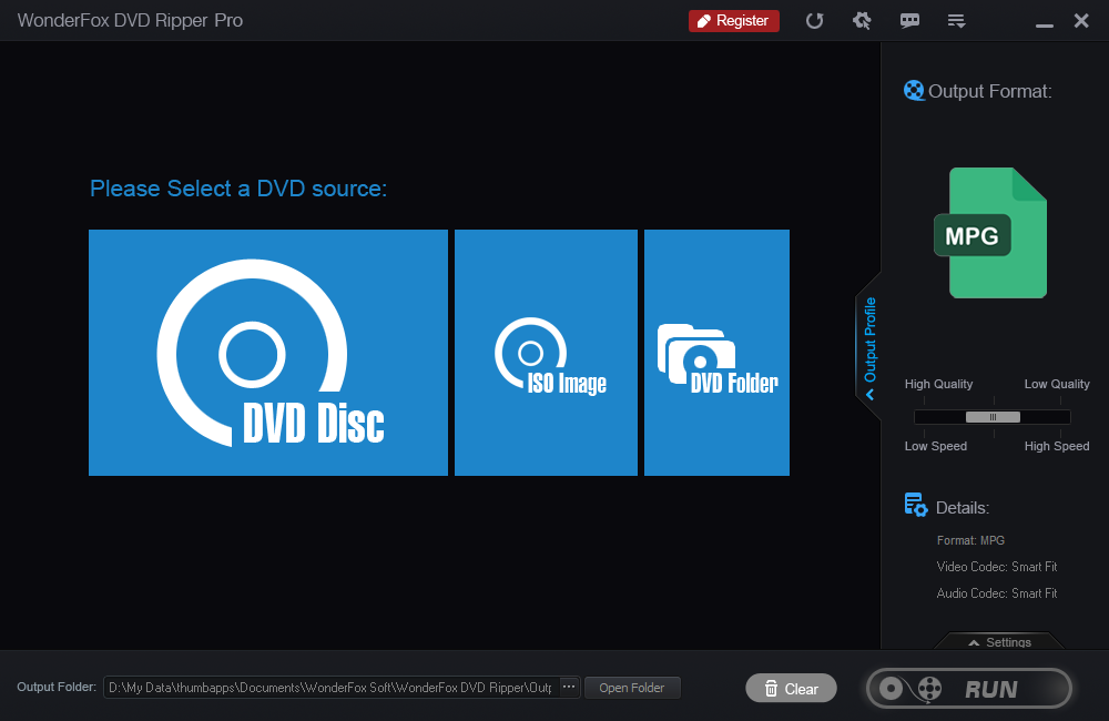 WonderFox DVD Ripper user interface