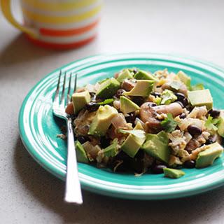 Black Bean, Mushroom, & Avocado Breakfast Scramble.