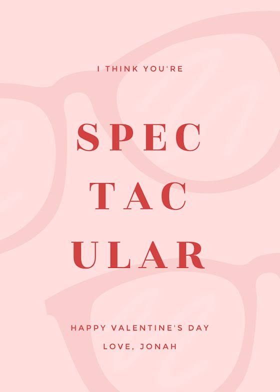 You're Spectacular - Valentine's Day Card Template