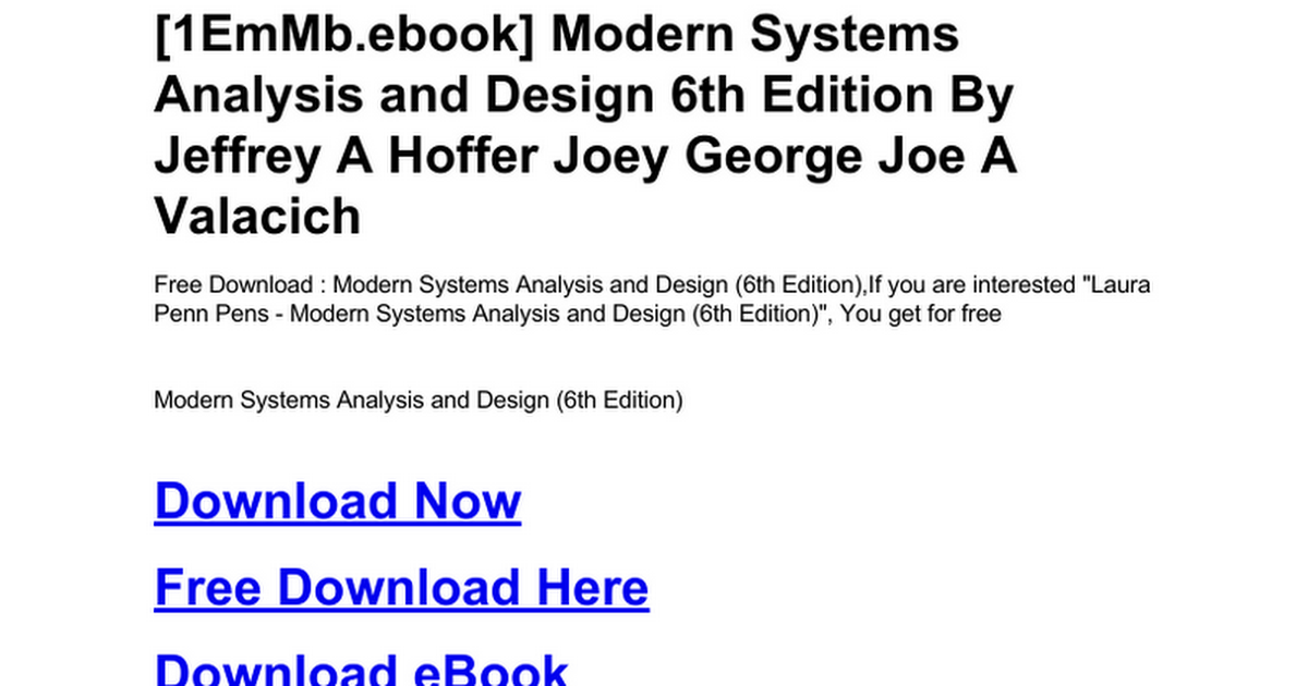 Modern Systems Analysis And Design 6th Edition Doc Google Drive