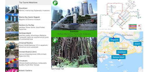 top tourist attractions guide, tourist map, MRT map, Singapore food