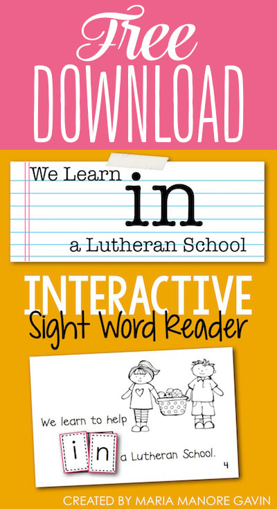 FREE emergent reader for Lutheran Schools Week