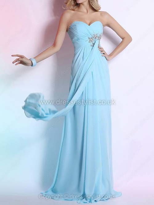 Chiffon Sweetheart Empire Floor-length Rhinestone Prom Dresses #DLT02014287