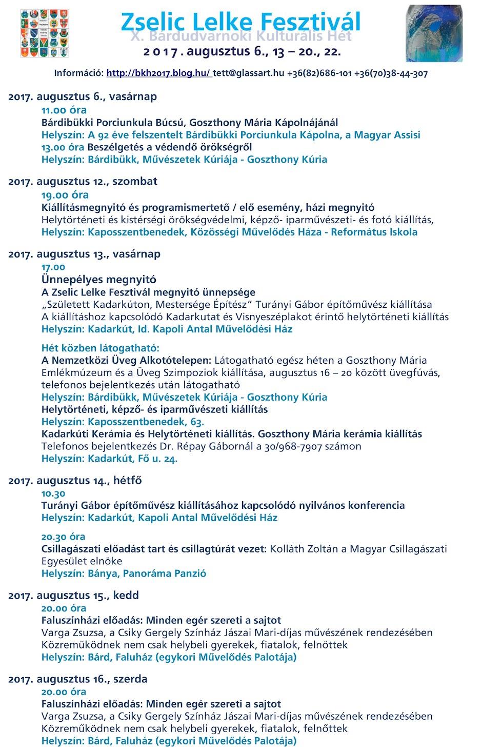 Zselic Lelke Fesztivál - X. Bárdudvarnoki Kulturális Hét 2017 augusztus - programja