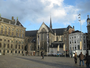 "Photo: The Dam and the Nieuwe Kerk, or ""new"" church. Church was closed the week we were there."