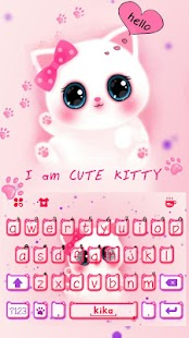 Cute Kitty Pinky Keyboard Theme - free emojis - náhled