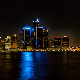 Detroit skyline at Night by Carol Ward - City,  Street & Park  Skylines ( detroit river, michigan, skyline, night time, detroit, nightscape )