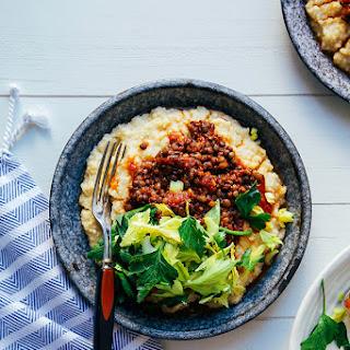 vegan BBQ lentils with millet polenta.