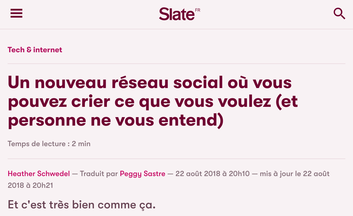 screen capture of Brizzly coverage on Slate France
