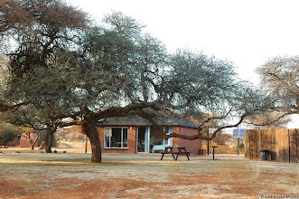 Photo: Nice chalet at the Haak en Steek Camp Site with the double bed looking out on the waterhole. Mokala National Park.