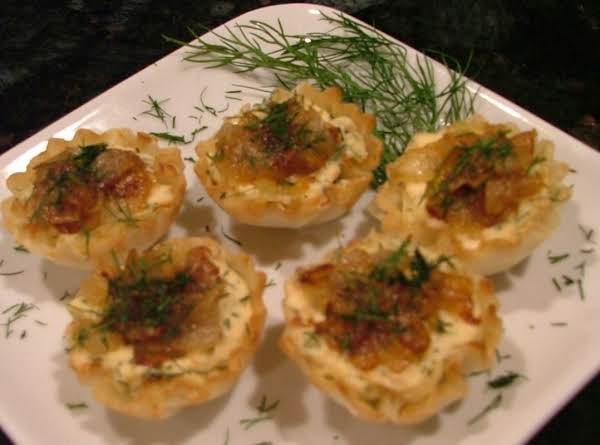 Salmon Mousse Tartlets W/balsamic Caramelized Onio