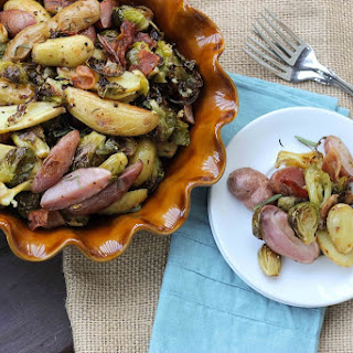 Beer-Roasted Potato Salad with Brussels and Bacon