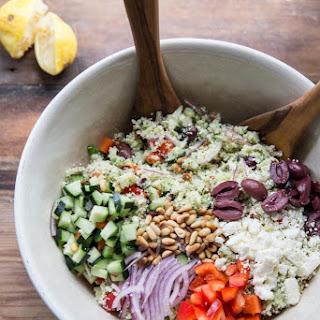 "Raw Cauliflower ""Couscous"" Greek Salad"