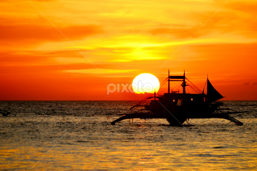 Boracay sunset by Janice Meyer - Landscapes Sunsets & Sunrises ( sunset, philippines )