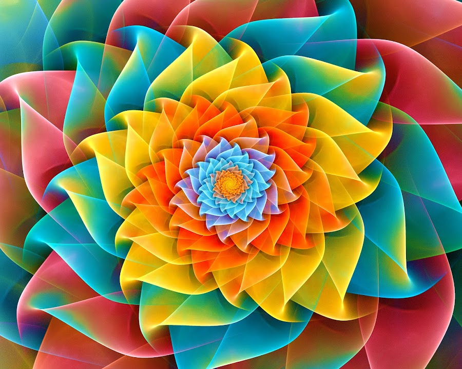 Auger Flower Spiral by Peggi Wolfe - Illustration Abstract & Patterns ( digital, gift, color, wolfepaw, bright, pattern, spiral, abstract, décor, auger, flower, print, unique, fractal, illustration, unusual, fun )