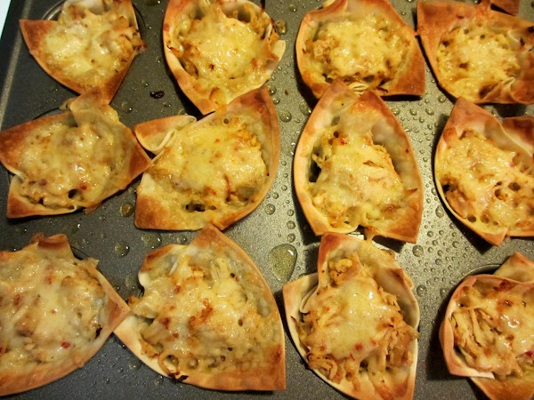Bake for 12-16 minutes until wontons are a crisp, golden brown, and cheese is...