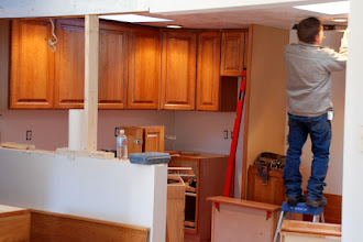 Photo: New cherry cabinets going in.