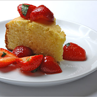 Cornmeal Lemon Cake with Strawberries and Mint
