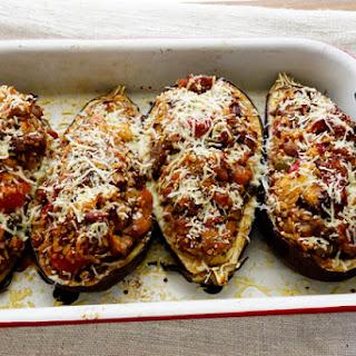 Pork Stuff Eggplant Boats