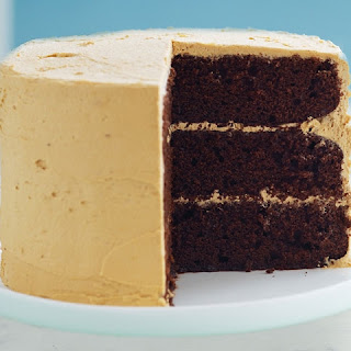 CHOCOLATE LAYER CAKE with CARAMEL FROSTING.