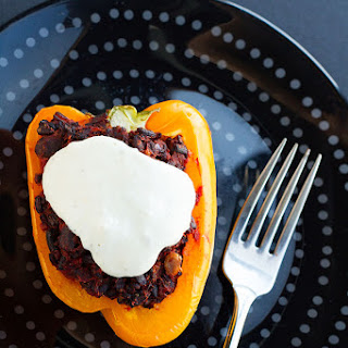 Black Rice Stuffed Bell Peppers with Cashew Cream Sauce