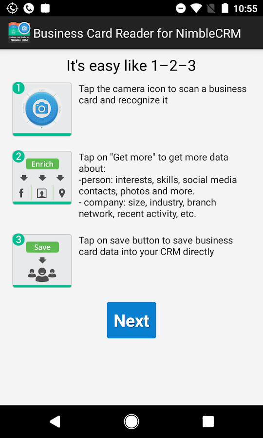 Free Business Card Reader for Nimble CRM- screenshot