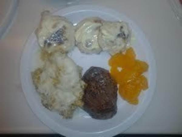 Skillet Biscuits,spiced/smothered Scrambled Eggs With Eye Round Steak And Mandarin Orages