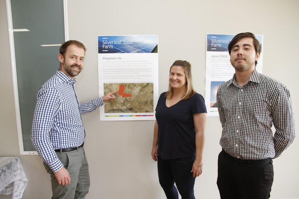 Business Development manager Marcus Dowling, Alysia Norris, from consultants company GHD and Ian Long GHD at the Narrabri meeting.