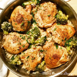Chicken Thighs with Creamy Mushroom and Broccoli Rice.