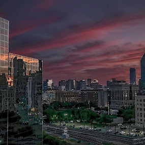 Dallas Morning by Barb Hauxwell - Buildings & Architecture Office Buildings & Hotels ( clouds, lights, colourful, dallas, buildings, cityscape, sunrise, light, downtown,  )