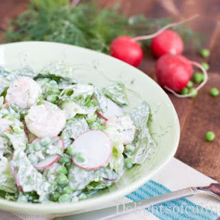 Shrimp, Pea and Radish Salad with Herb Yogurt Dressing.