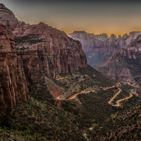 Zion Tracers by Joel Eade - Landscapes Mountains & Hills ( zion long exposure sunset landscape vista beautiful awesome )