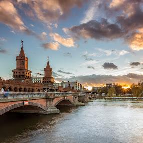 Berlin by Nikolas Ananggadipa - City,  Street & Park  Street Scenes ( cityscapes, clouds, sunset, germany, bridge, cityscape, berlin, city, river,  )