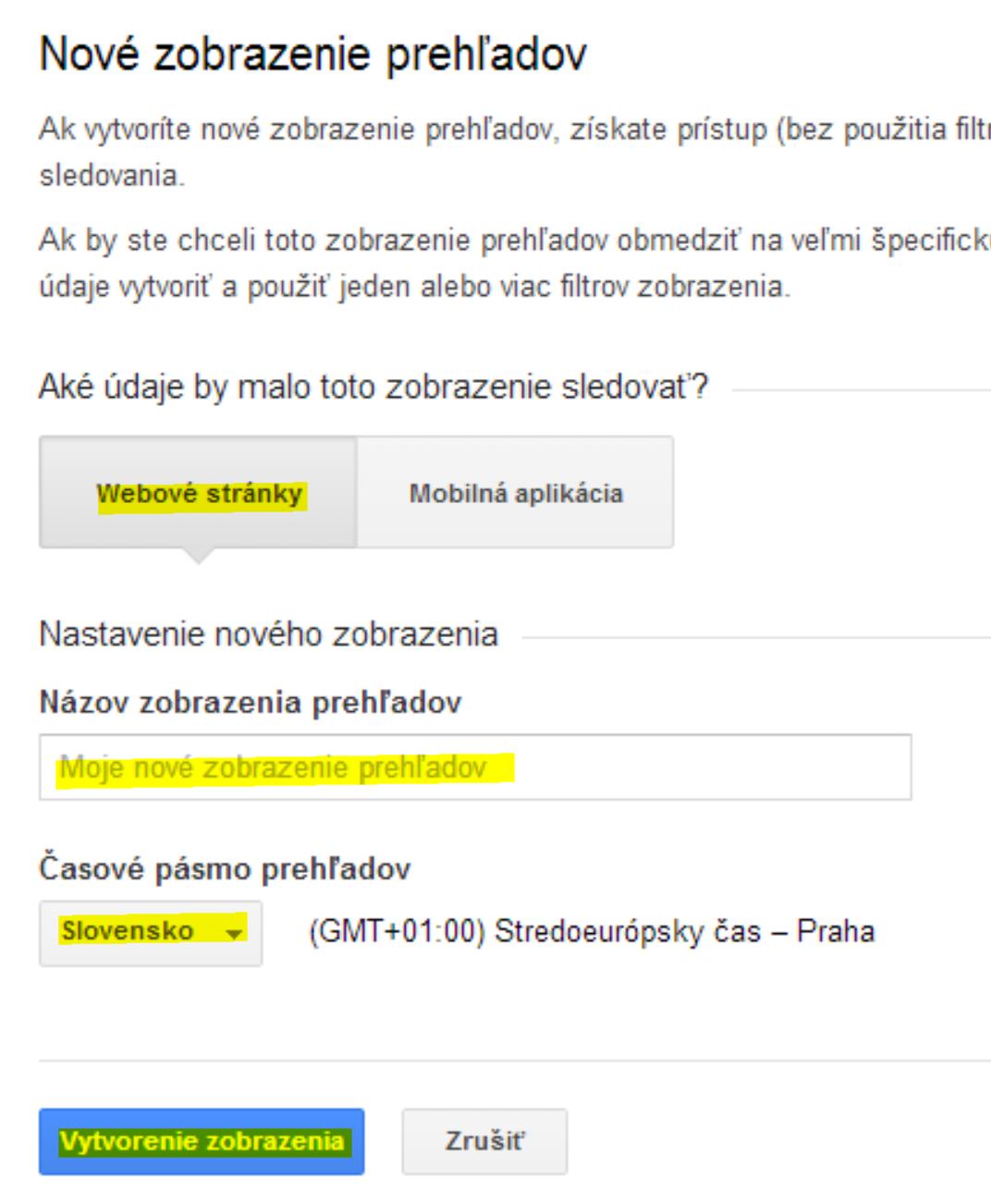 nastavenie nového zobrazenia (profilu) v Google Analytics
