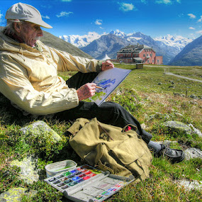 The painter at Muottas Muragl, Oberengadin, Switzerland  by Keld Helbig Hansen - People Professional People