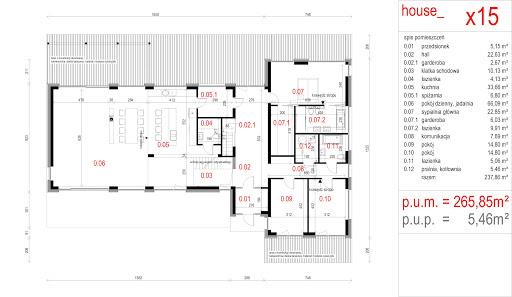 House X15 - Rzut parteru