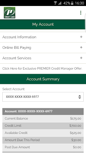 My Premier Credit Card Screenshot