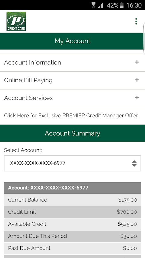 My Premier Credit Card- screenshot