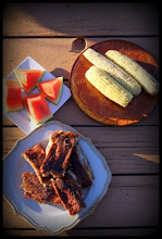 Photo: Dinner is served! Aloha Pork Spareribs, corn-on-the-cob & watermelon! Summer Grilling at it's best!