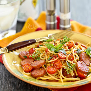 Pasta with Fresh Herbs, Sausage, and Tomatoes.